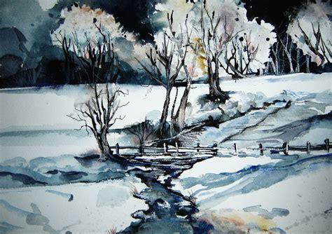 winterlandschaft aquarell landschaft winterlandschaft