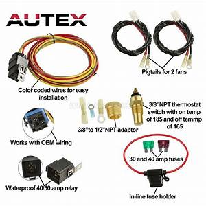 Dual Electric Cooling Fan Wiring Install Kits 185  165