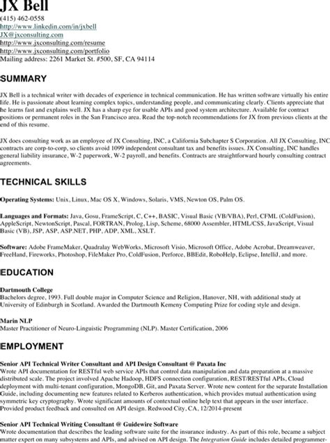 Technical Writer Resume by Experienced Technical Writer Resume For Free