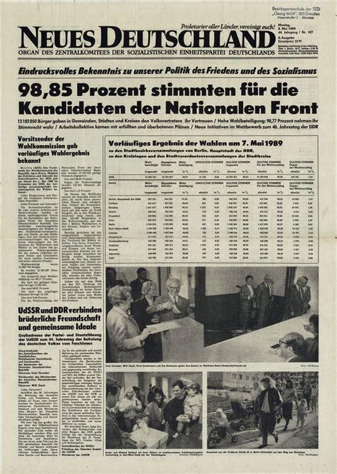 lemo objekt zeitung neues deutschland zu den kommunalwahlen