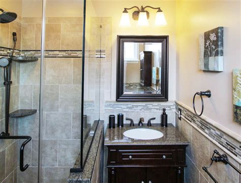 Bathroom With Bronze Fixtures by Cool Earth Toned Vanity With Rubbed Bronze Fixtures