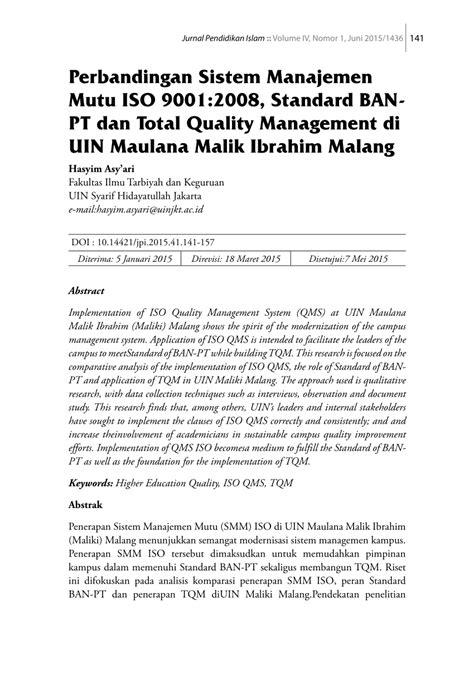 (PDF) Perbandingan Sistem Manajemen Mutu ISO 9001:2008