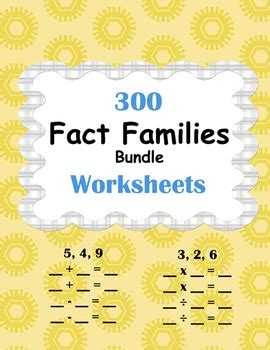 fact families worksheets bundle  images fact