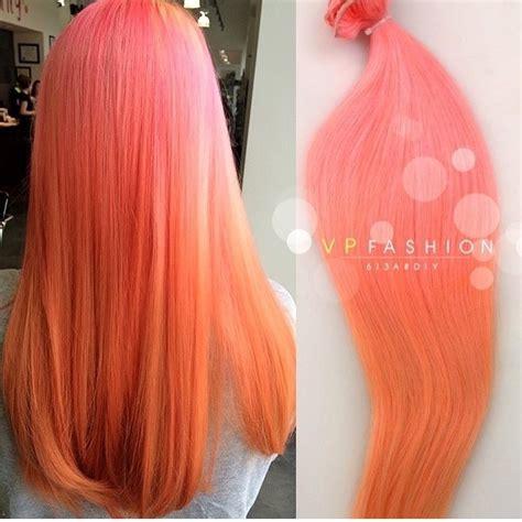 pink  peach ombre hair hair colar  cut style