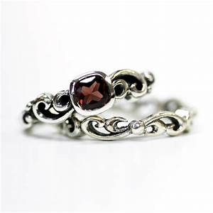 garnet engagement ring set unique silver swirl wedding set With garnet wedding ring set