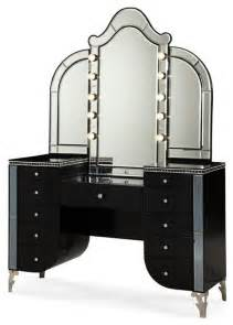 michael am aico hollywood swank vanity with bench black