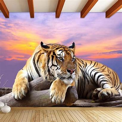 3d Tiger Animal Wallpapers Background Bedroom Customized