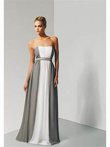 cheap a line grey white long chiffon bridesmaid dresses With grey wedding guest dress