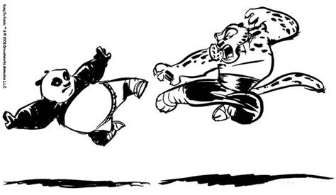 Kung Fu Panda Fighting A Duel With Tigress Coloring Pages