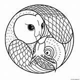 Coloring Simple Owls Mandala Printable sketch template