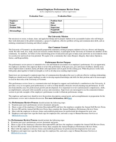 sle employee review form 7 exles in pdf word