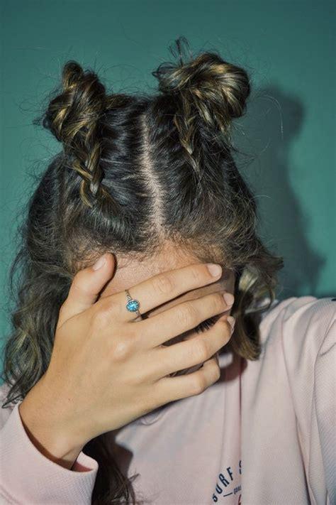 french braid pigtails buns  braids  pinterest