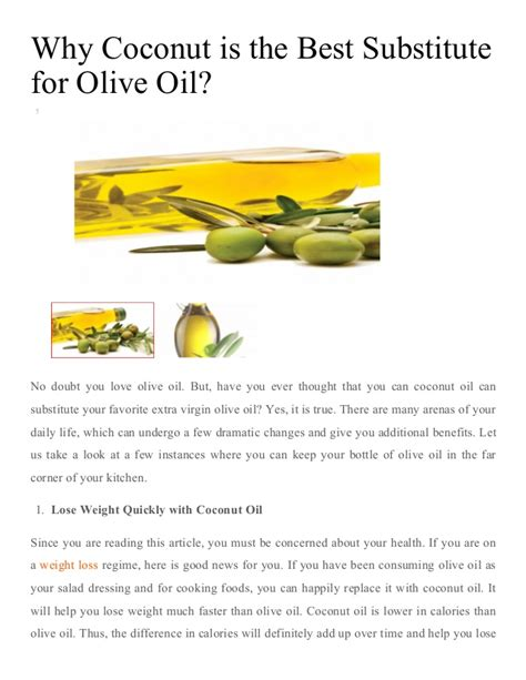 what can you substitute for olive why coconut is the best substitute for olive oil