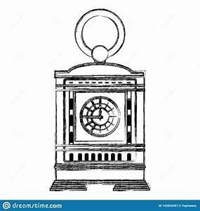 Grunge Mantel Clock Manual Structure Design Stock Vector