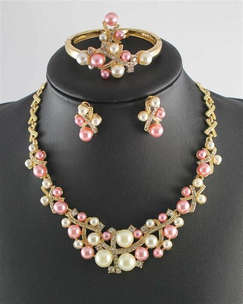 Bridal Jewelry by Gold Plated Bridal Jewelry Sets Pearl Rhinestone