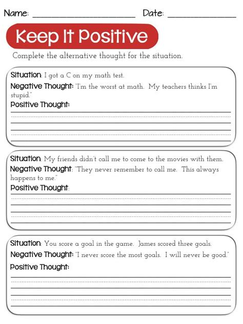 Changing Negative Thoughts Worksheets Use Positive Thinking, Reframe Negative Negative