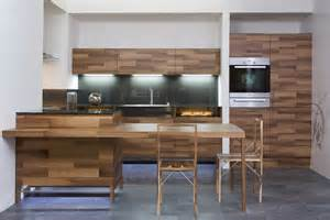 beautiful kitchen design in wood with daring glass