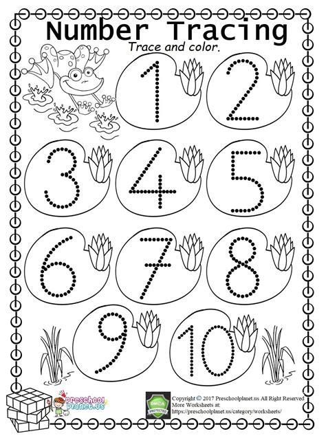 easy number trace worksheet 1 10 worksheet for kids