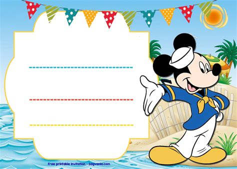 mickey mouse sailor invitation template