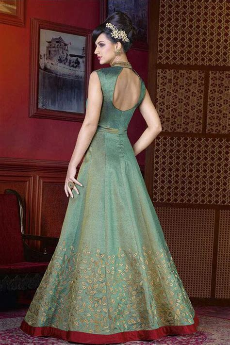 designer silk gown dress  apple green color dmv