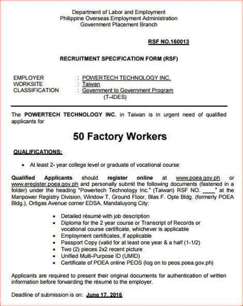 Factory Worker Resume Philippines by Opening 50 Factory Workers In Taiwan
