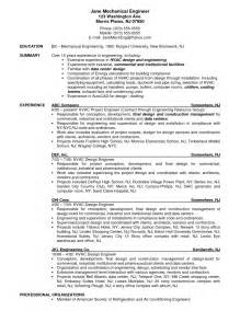 The Resume Cover Letter Exle by Hvac Engineer Sle Resume