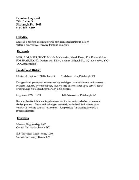 Simple Resume Format by Resume Basic Sle Simple Resume Exles Simple