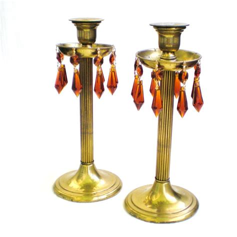 brass and crystal ls pair brass column candlesticks with bobèches and crystals