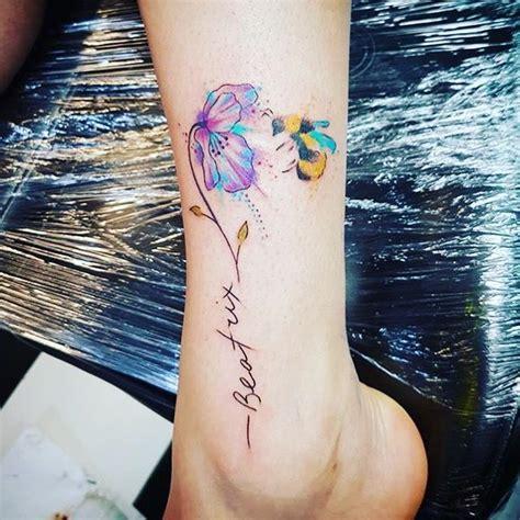 flower tattoo  watercolour  bee    stem