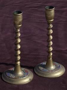 Barley Twist Enamel Color Solid Brass Candle Sticks