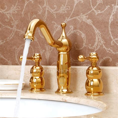 antique rose gold brass  hole split bathroom faucet