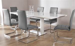 Tokyo White High Gloss Extending Dining Table and 6 Chairs