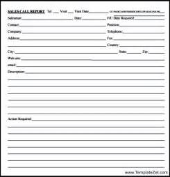 Sales Call Report Form Template
