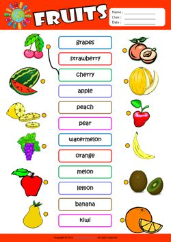 Living Room Dictionary by Fruits Esl Printable Worksheets For Kids 1