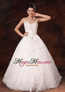 spaghetti straps beaded bowknot customize wedding dress With discount wedding dresses st louis