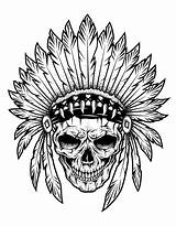 Coloring Native Skull Indian Chief Americans Pages American Adult Indians sketch template