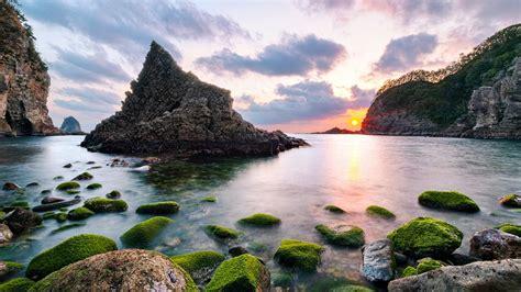 sunset  futo nishizo cove japan wide wallpaper