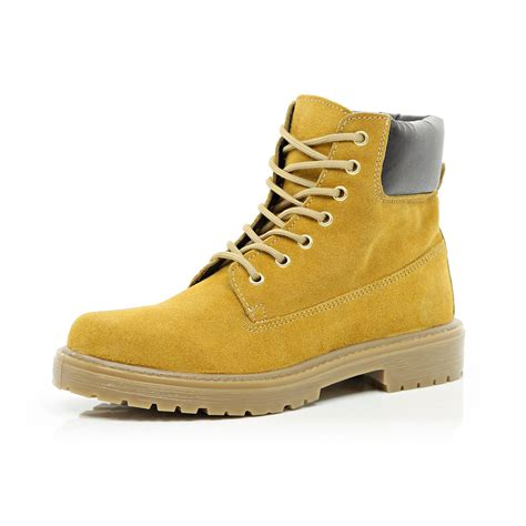 light brown boots mens river island light brown suede worker boots in orange for