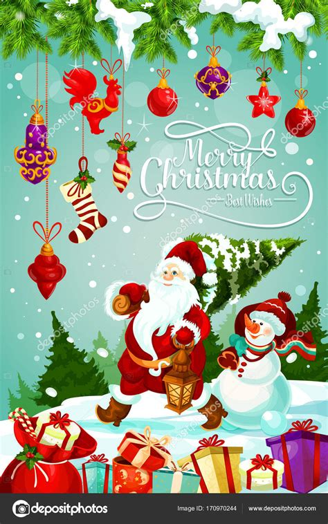 Merry Christmas holiday gifts vector greeting card Stock