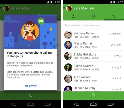 hangouts for windows phone hangouts gets free us and canada phone calls