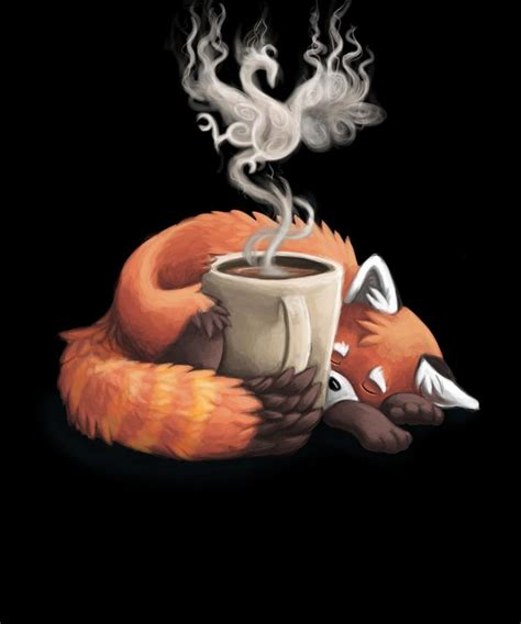 Find this pin and more on suluboya calismalar by dilek dal. Sleepy Red Panda Coffee Caffeine Drinking Bear Digital Art ...