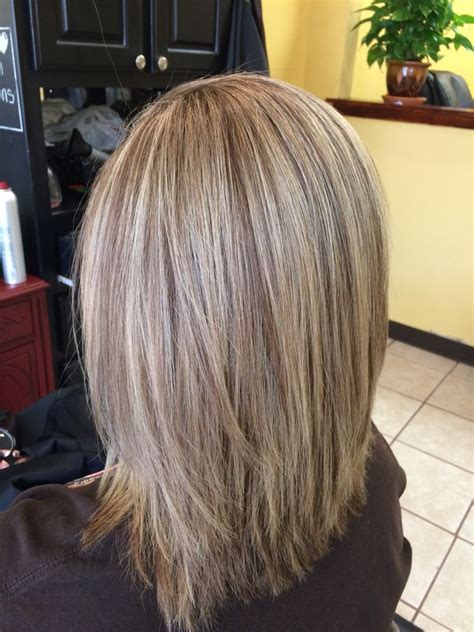 medium length hair with hilights and lowlights my