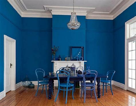 bold blue interior paint color  dining room interior