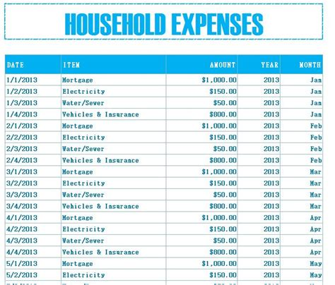 household budget expenses  excel templates