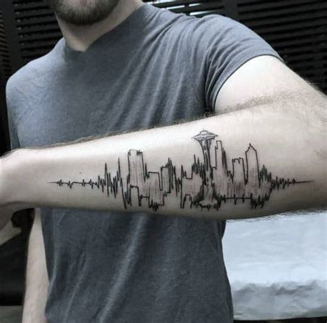 30 Seattle Skyline Tattoo Designs For Men - City Ink Ideas