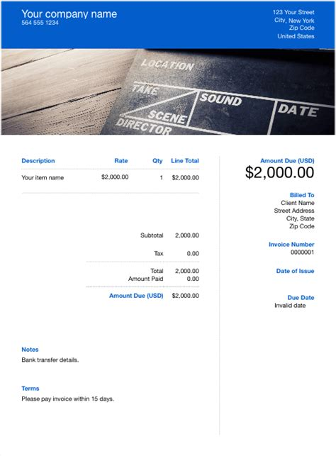 videography invoice template