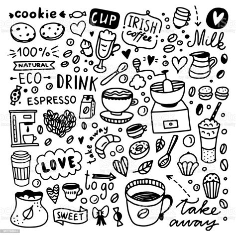 Look at links below to get more options for getting and using clip art. Coffee Doodle Set Cute Coffee And Desserts Food Illustrations Stock Illustration - Download ...