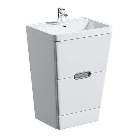 mode sherwood white floor standing vanity unit  resin