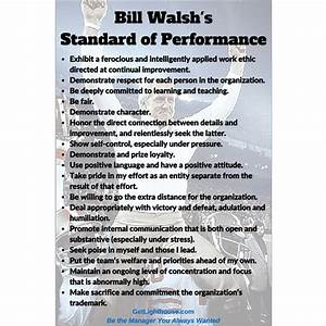 The Dao of Strategy: Bill Walsh's Standard of Performance