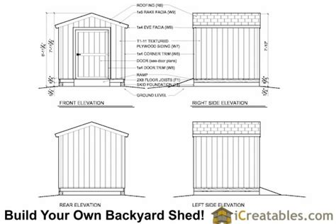 8x8 backyard shed plans icreatables com